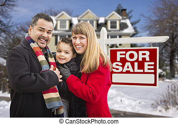 Mixed Race Family, Home, For Sale Real Estate Sign - Warmly...