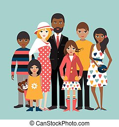 Mixed race family with 5 children. Cartoon ilustration, vector.