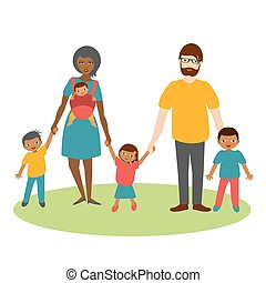 Mixed race family with three children. Cartoon ilustration, vector.