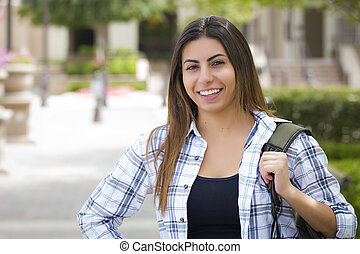 Mixed Race Female Student on School Campus