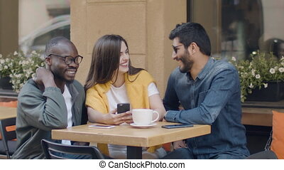 Mixed Race Friends Have Fun - Mixed race friends, guys and...