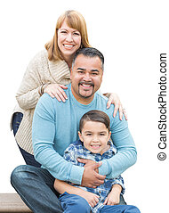 Mixed Race Hispanic and Caucasian Family on White