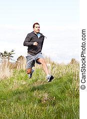 Mixed race man running