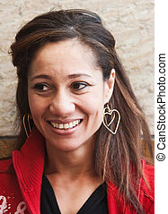 mixed race middle age woman, in her  fourties