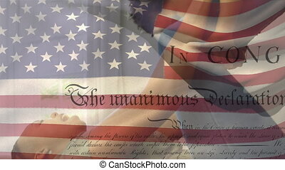 Animation of U.S. flag waving with U.S. Constitution text rolling over mixed race woman holding her daughter up. United States of America flag and holiday concept digital composition