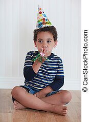 Toddler Boy With Birthday Hat