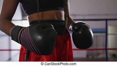 Mixed race woman with boxing gloves - Mid section of a mixed...