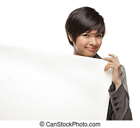 Mixed Race Young Adult Female Holding Blank White Sign