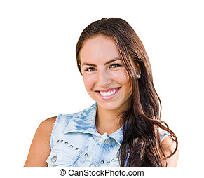 Mixed Race Young Girl Portrait Isolated on White Background
