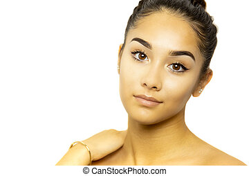 Mixed race young woman face portrait isolated on white background.