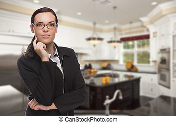 Mixed Race Young Woman Standing in Beautiful Custom Kitchen