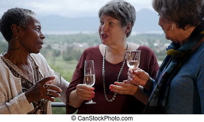 Mixed racial group of senior women friends laughing out loud on a balcony