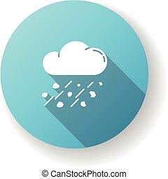 Mixed rain blue flat design long shadow glyph icon
