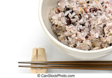 Mixed rice in japanese rice bowl