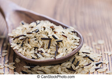 Mixed Rice on a wooden Spoon
