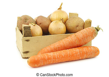 """Mixed root vegetables for making """"hutspot"""" in a wooden crate"""