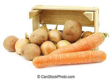 "Mixed root vegetables for making ""hutspot"" in a wooden crate"