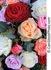 mixed rose bouquet in bright colors