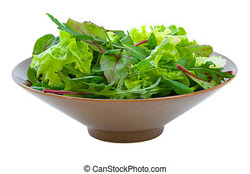 Mixed Salad Greens over white - Fresh mixed salad greens in...