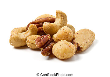 Mixed Salted Nuts from low perspective isolated on white.