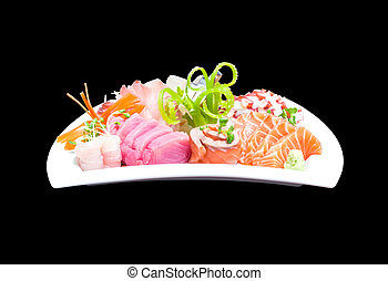 Mixed sashimi in white plate isolated on black background, with clipping path