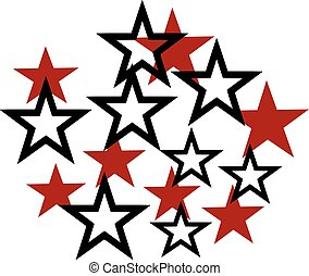 Mixed set of red and black outlined stars