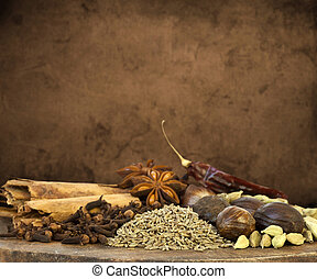 Mixed Spices Background - Illustration of Mixed Christmas...