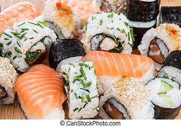 Mixed Sushi (macro shot) - Mixed Sushi rolls (macro shot)