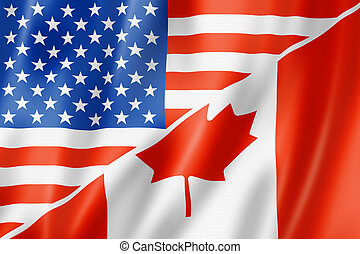 Mixed USA and Canada flag, three dimensional render, illustration