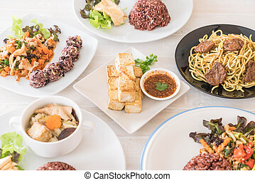 mixed vegan food on the table