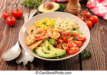 mixed vegetable salad and shrimp