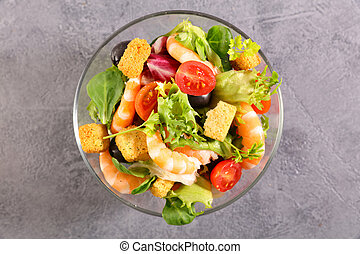 mixed vegetable salad with shrimp