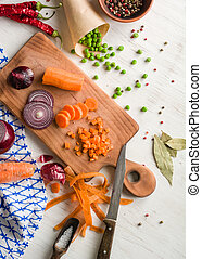 mixed vegetables on white wooden background. Copy space.