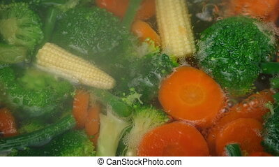 Mixed Vegetables Cooking In Boiling Water