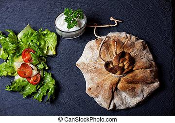 mixed vegetables in a dough bag