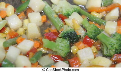 mixed vegetables in a pan close-up