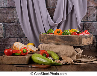 Mixed vegetables in wooden trays