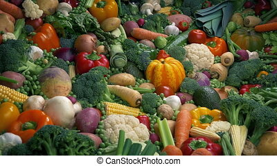 Mixed Vegetables Pile - Healthy Eating Concept - Moving over...