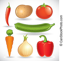Mixed vegetables set 1 - Vector set of various vegetables on...