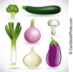 Vector set of various vegetables on a white background