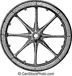 Mixed wheel, Arbel system with hub and iron rails and rim bais, vintage engraved illustration. Industrial encyclopedia E.-O. Lami - 1875.