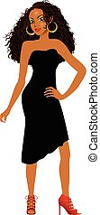Vector Illustration of Mixed woman with black dress and red heels.