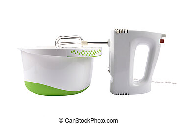 Mixer and bowl on white background