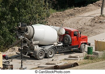 Mixer - Concrete mixer truck at a construction site