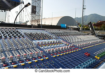 Mixer console - Big mixer console in a concert stage