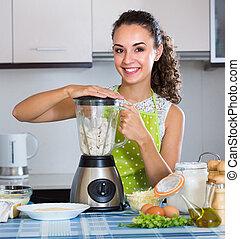 mixer, femme, kitchen.