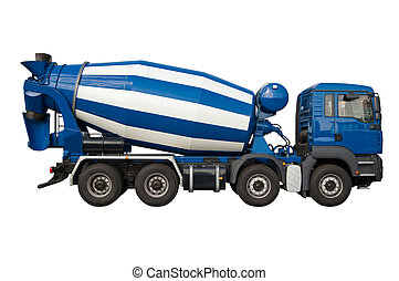 Mixer lorry isolated on white