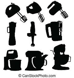 mixer vector silhouette art illustration on white background