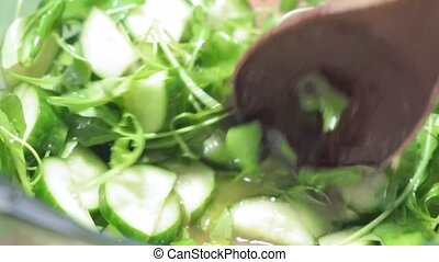 mixes fresh green salad - mixes green fresh arugula salad...