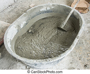 Mixing a cement in salver